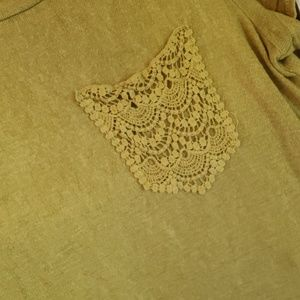 Bobeau Olive Green Tee with lace pocket